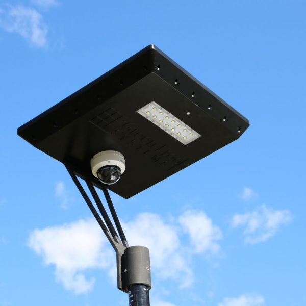 CCTV camera on solar powered light